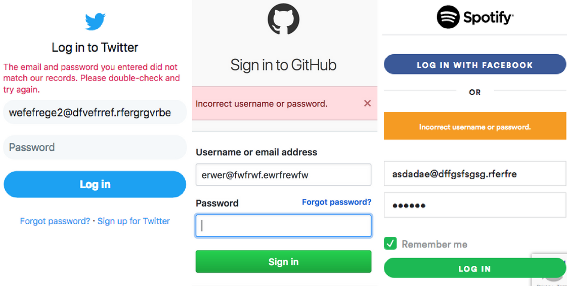 'Twitter, Github and Spotify's login error messages'